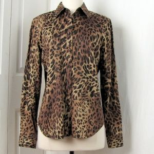 Chaps Animal Print Cotton Shirt M Long Sleeves
